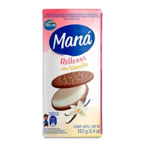 Maná Rellenas Vainilla Thin Sweet Chocolate Cookies with Vanilla Filling, 152 g / 5.4 oz (pack of 3)