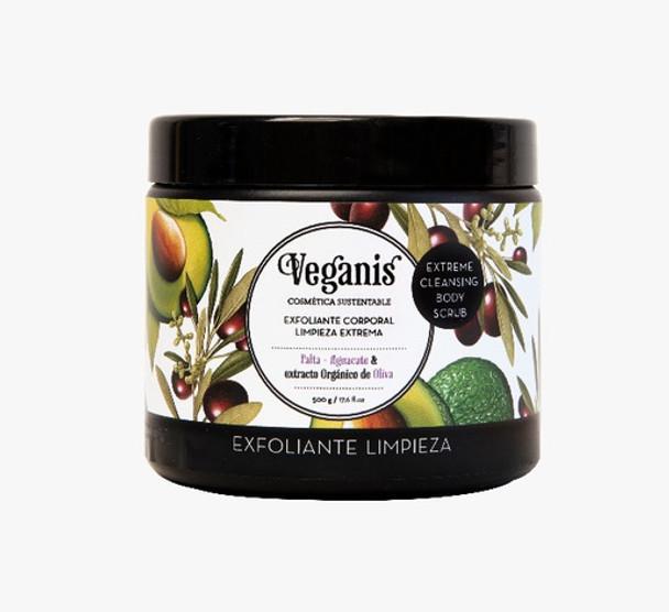Veganis Exfoliante Corporal Vegan Body Scrub Deep Extreme Cleansing Body Exfoliator Avocado & Organic Olive Extract, 500 g / 17.6 fl oz