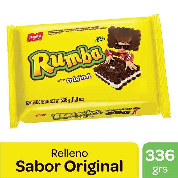 Rumba Sandwich Cookies with Chocolate and Coconut Cream Original Flavor, 336 g / 11.9 oz tripack
