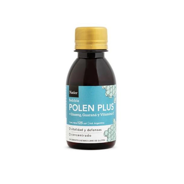 Natier Polen Bebible Concentrado Dietary Supplement Liquid Pollen with Ginseng, Guarana & Vitamin C Increases Cognitive Ability, 125 ml / 4.2 fl oz (100 mg per 10 ml)
