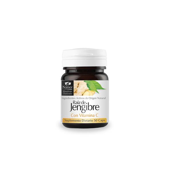 Natier Raíz de Jengibre Vegan Dietary Supplement Ginger Root with Vitamin C Natural Antioxidant & Anti-Inflammatory Cruelty Free Supplement, 330 mg per capsule (50 capsules)