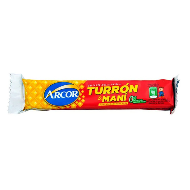 Turrón & Maní Arcor Bar with Hard Peanut Cream and Biscuit, 25 g / 0.9 oz (pack of 6)