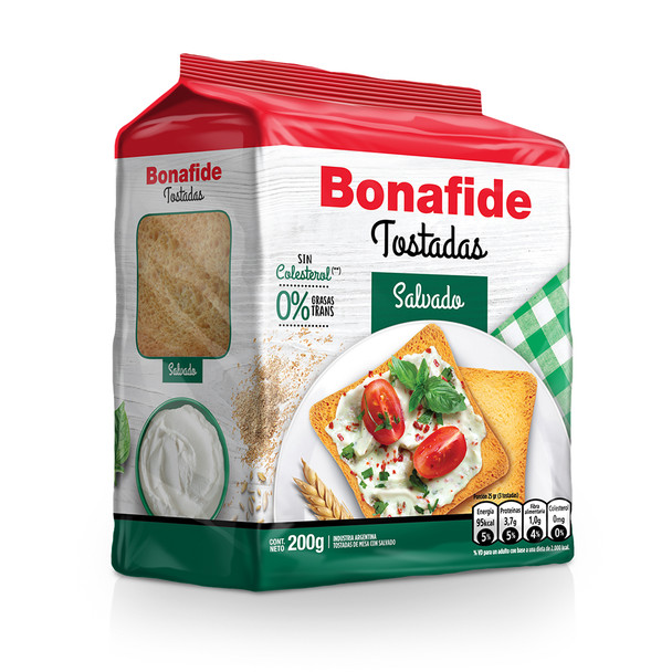 Bonafide Tostadas Salvado Breakfast Bran Toast Crispy Toasted Bread, 200 g / 7.05 oz