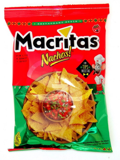 Nachos Macritas Corn Chips Snack Ideal for Guacamole or Cheddar Gluten Free, 90 g / 3.17 oz (pack of 3)