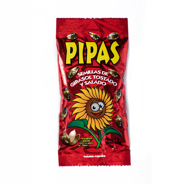 Pipas Salty Toasted Sunflower Seeds w/shell, 18 g / 0.6 oz (pack of 10)