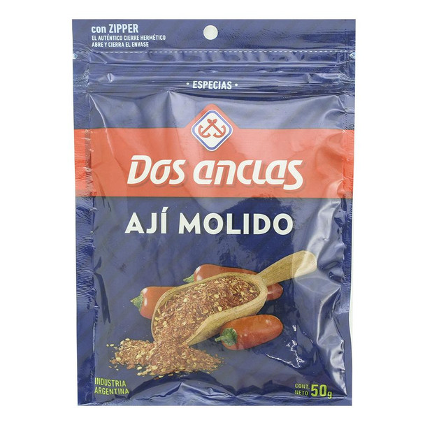 Dos Anclas Ají Molido Ground Chile Spice, 50 g / 1.76 oz pouch (pack of 3)