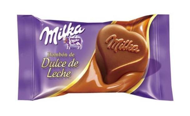 Milka Bombón con Dulce de Leche Milk Chocolate Heart-shaped Bite Filled with Creamy Dulce de Leche, 12.5 g / 0.45 oz (pack of 10)