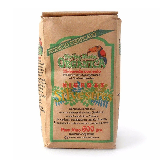 Yerba Mate Silvestres Hierbas Certified Organic Barbacua, 500 g / 1.1 lb
