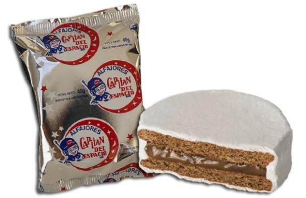 Capitán del Espacio Blanco Alfajor Dulce de Leche Filling Sugar Coating Difficult to Find (pack of 6)
