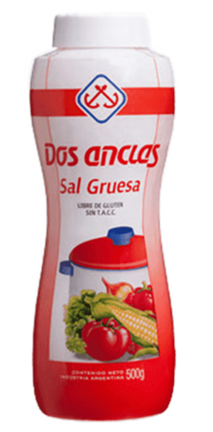 Dos Anclas Sal Gruesa Botella Salero Coarse Salt Bottle, 500g / 1.1 lb