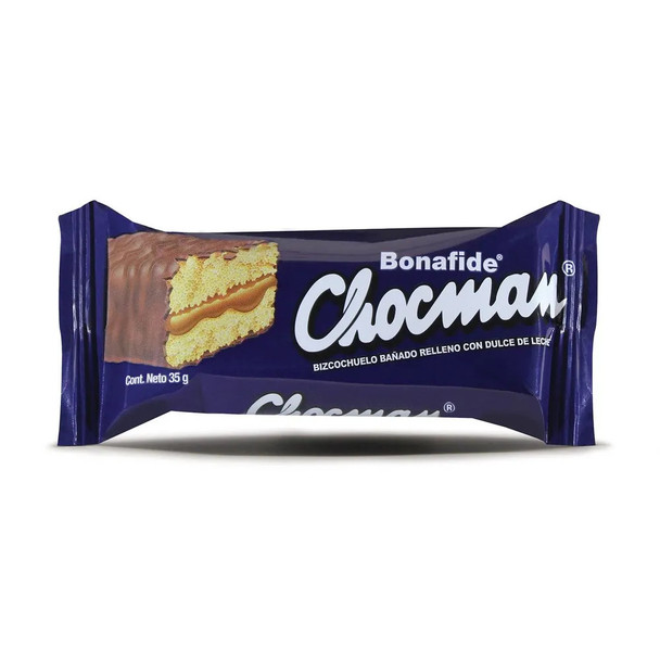 Bonafide Chocman Vanilla Biscuit Bizcochuelo with Dulce de Leche with Milk Chocolate, 35 g / 1.2 oz (pack of 6)