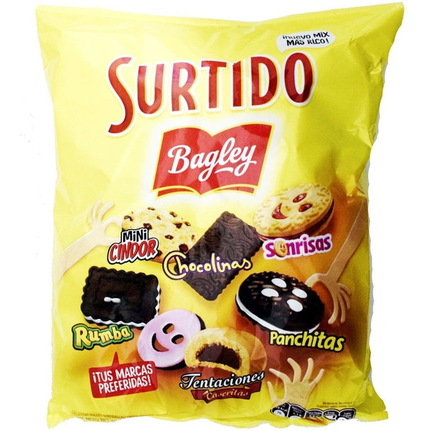 Surtido Bagley Assorted Galletitas Cookies Sonrisas, Chocolinas, Tentaciones, Rumba, Panchitas & Cindor, 400 g / 14.1 oz bag