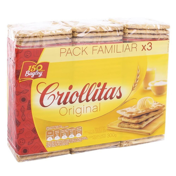 Criollitas Water Biscuits Classic Galletitas, 1x3 pack 300 g / 10.6 oz