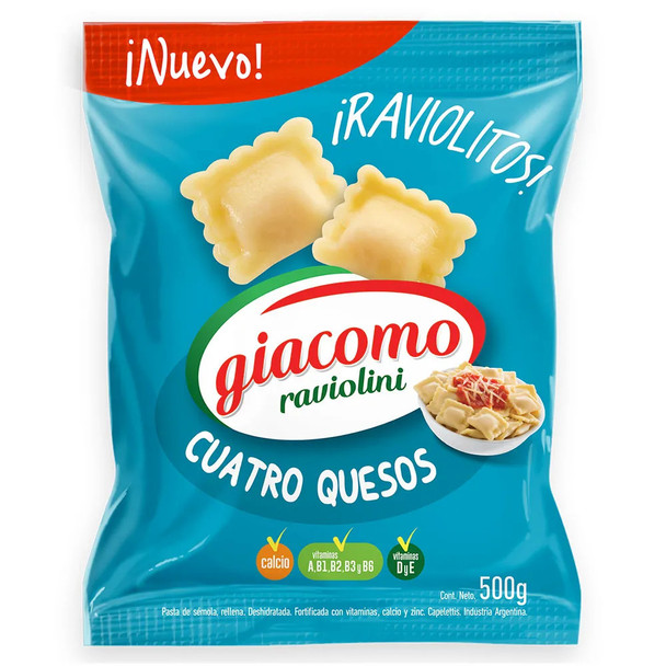 Giacomo Raviolini Four Cheese Filled Delicious Classic Pasta, 500 g / 17.6 oz bag