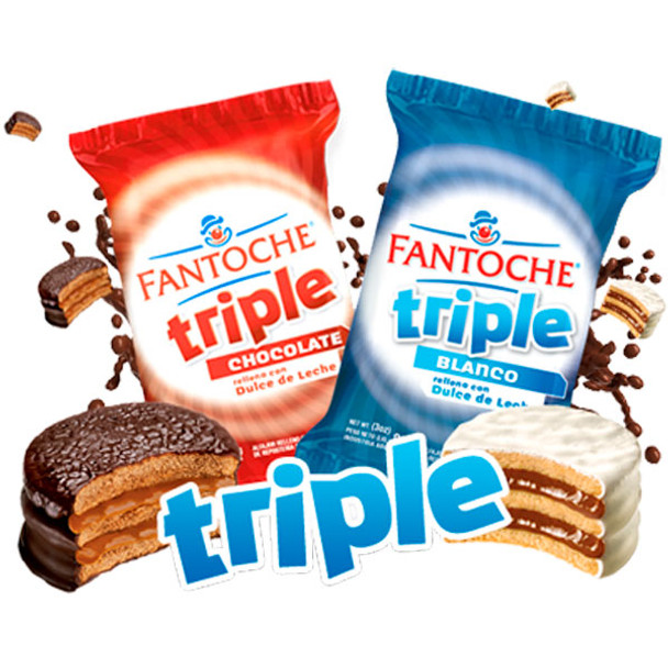 Fantoche Alfajor Triple Sugar Coated with Dulce de Leche Large, 85 g / 3 oz (pack of 6)