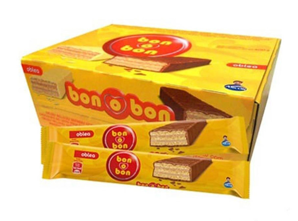 Bon o Bon Oblea Snack Chocolate Filled With Peanut Butter from Box of 20 bars, 600 g / 21.2 oz (family box)
