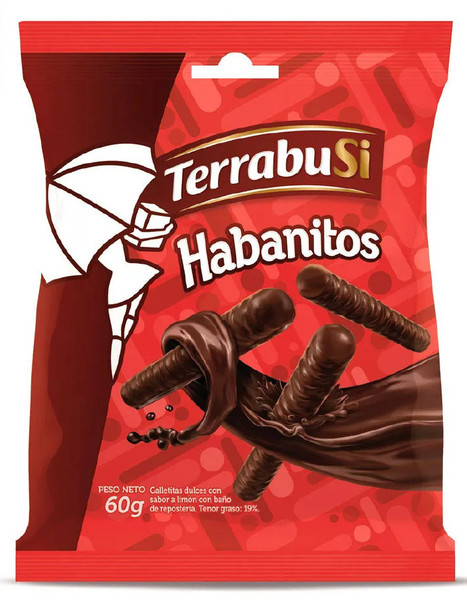 Mini Habanitos Small Biscuits with Filling and Chocolate Coated by Terrabusi, 60 g / 2.1 oz