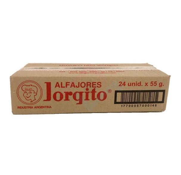 Alfajor Jorgito Negro Dulce de Leche w/ Chocolate Coating Wholesale Bulk Box, 55 g / 1.94 oz ea (24 count per box)