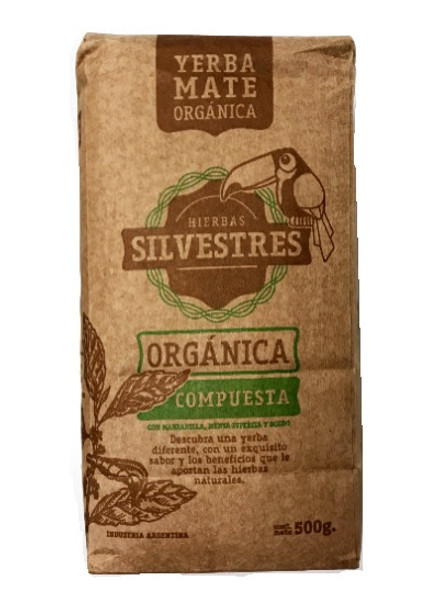 Yerba Mate Hierbas Silvestres with Chamomile, Mint & Boldo Certified Organic, 500 g / 1.1 lb