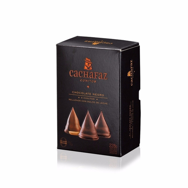 Cachafaz Dulce de Leche Conitos Cone Cookies Filled with Creamy Dulce de Leche and Milk Chocolate Covered, 228 g / 8 oz (box of 6)