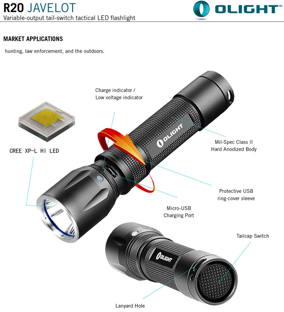 Olight R20 Javelot USB Rechargeable Flashlight 900 Lumen Multi mode Flash light