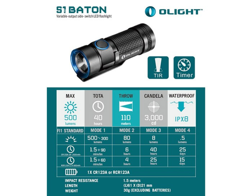 Olight S1 Baton LED Flashlight 500 Lumen flash light lite lm lum pocket clip