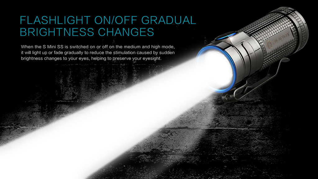 Olight S Mini Baton Stainless Steel Thunder Gray 550 Lumen Flashlight SMINI-SS EDC LED Flash Light Lite