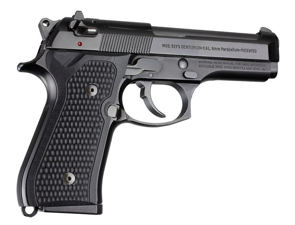 Hogue Beretta 92FS Piranha Grip G10 Checkered Black 9MM Luger 92139 743108921395