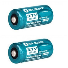 Olight 16340 RCR123 Lithium-Ion Rechargeable Battery 3.7V Two Pack CR123A 2 CR123 CR123A Batteries