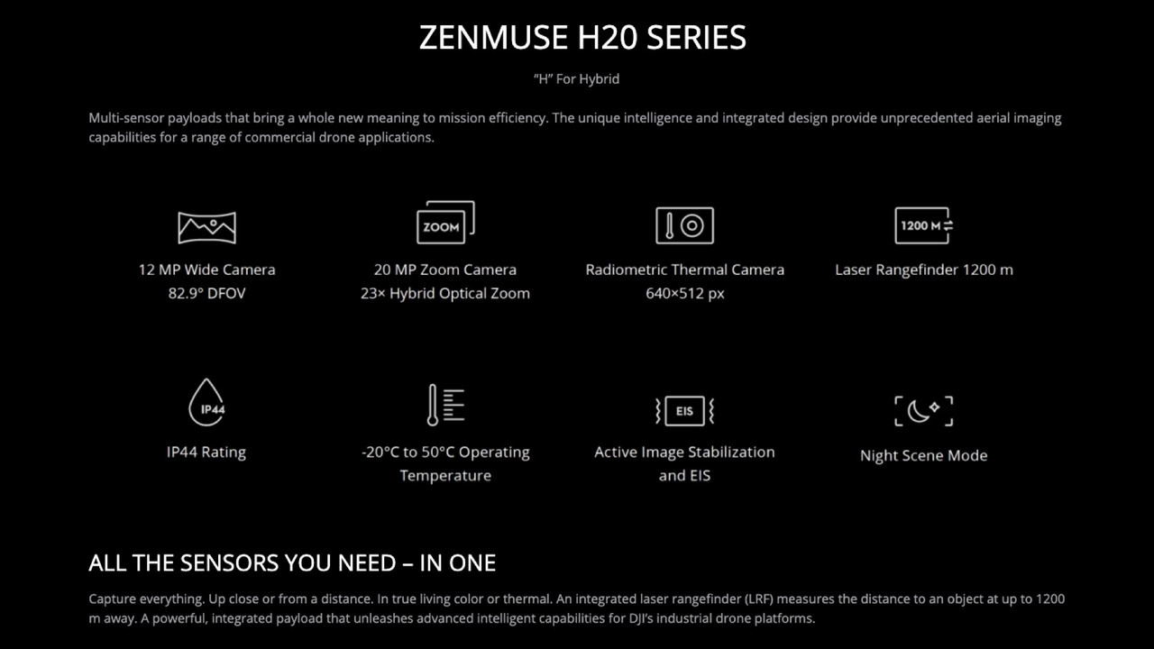 Zenmuse H20T Thermal Camera - Quad-Sensor Solution