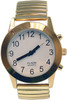 Touch Face Talking Watch, White Face Gold Band