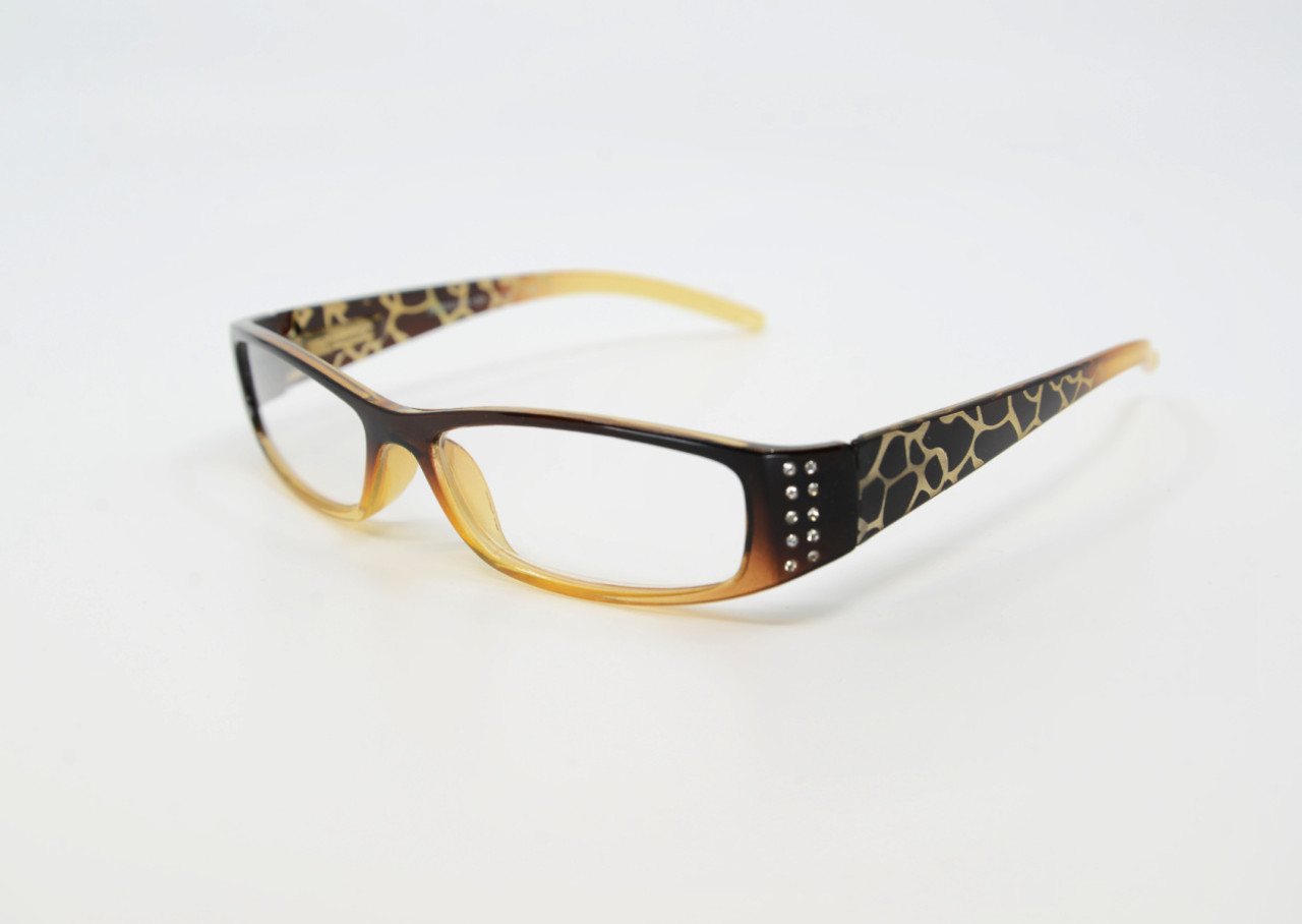 Brown Designer Reading Glasses with Rhinestones