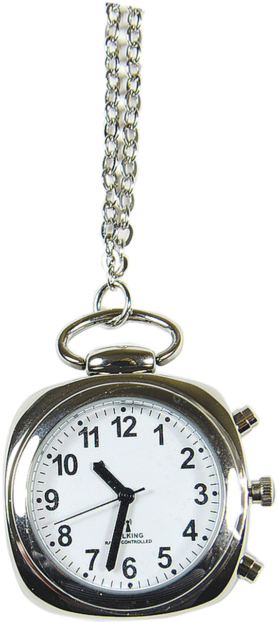 Silver Talking Atomic Pendant Watch with Silver Chain