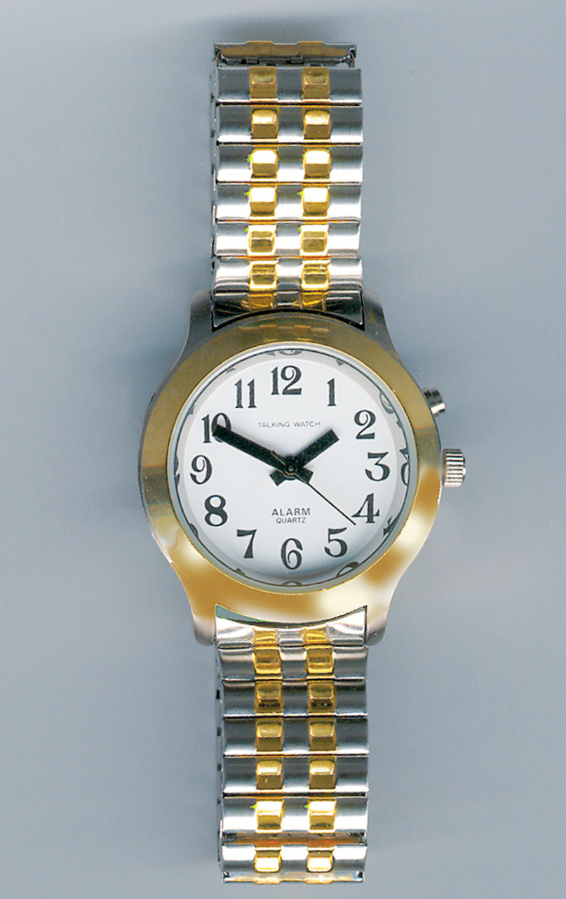 Ladies Talking Watch w/Two Tone Case and Beaded Band 1 Button