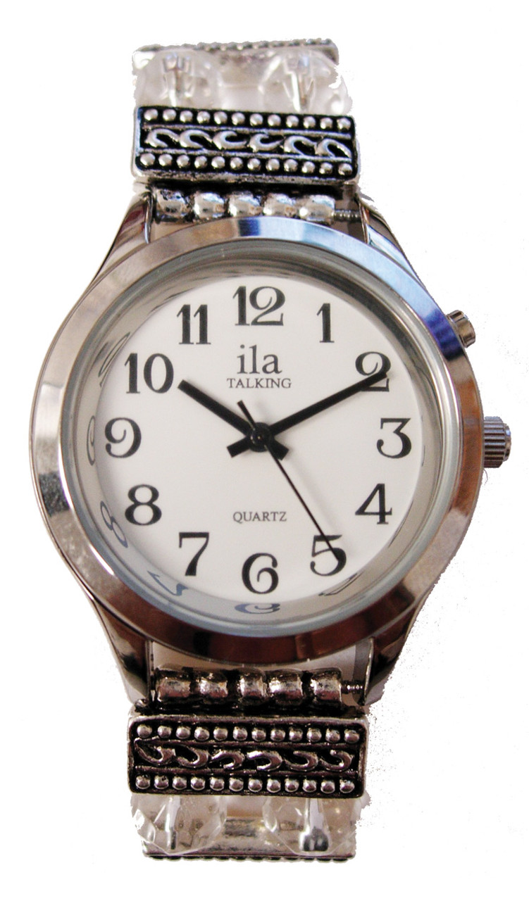 Ladies Silver ila Talking Watch /Round Beaded Band 1 Button