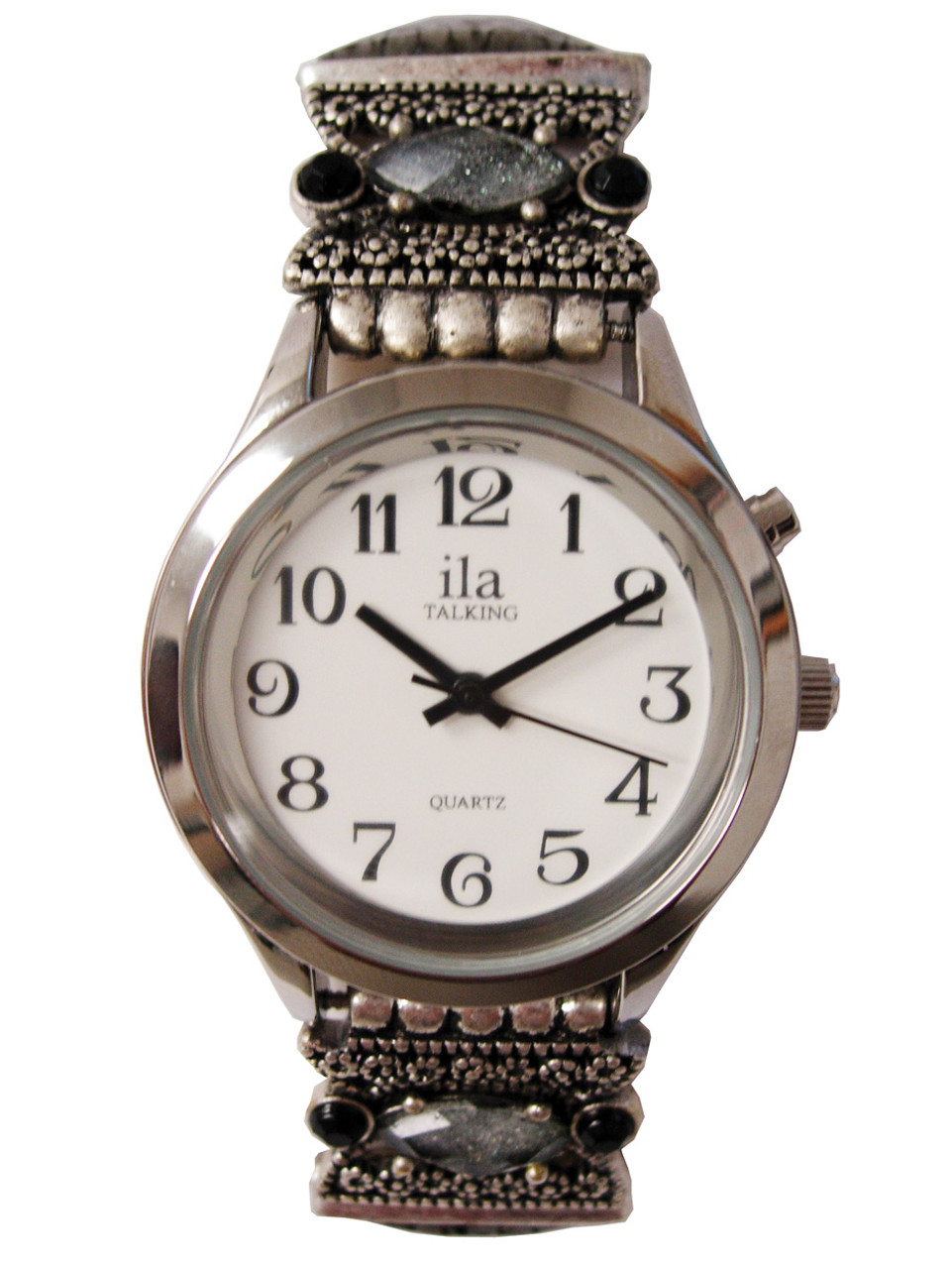 Ladies Silver ila Talking Watch w/ Square Beaded Band, 1 Button