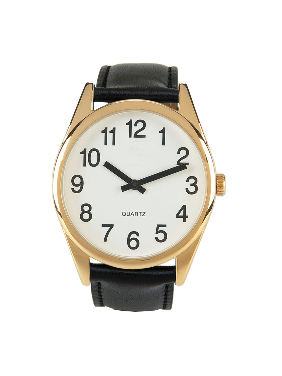 Low Vision Gold Tone Watch With White Face and Leather Band