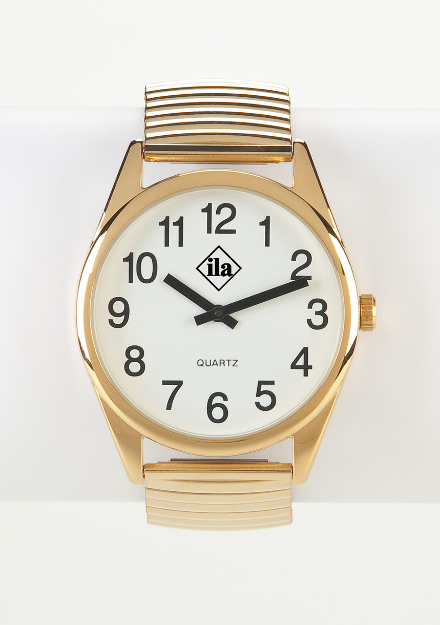 Low Vision Gold Tone Watch With White Face and Expansion Band
