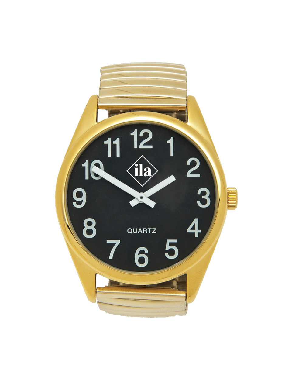 Low Vision Gold Tone Watch With Black Face and Expansion Band