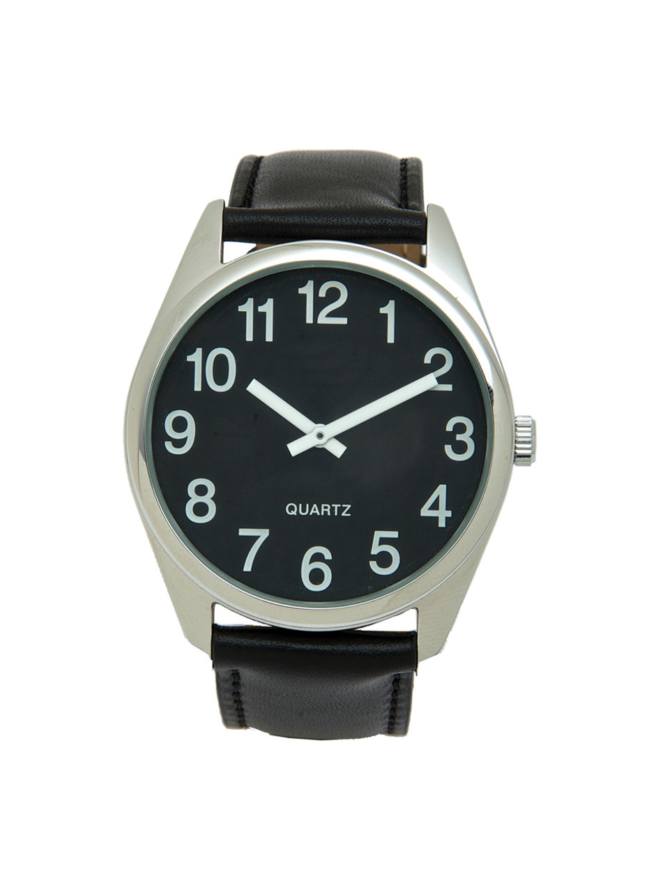 Low Vision Silver Tone Watch with Black Face and Leather Band