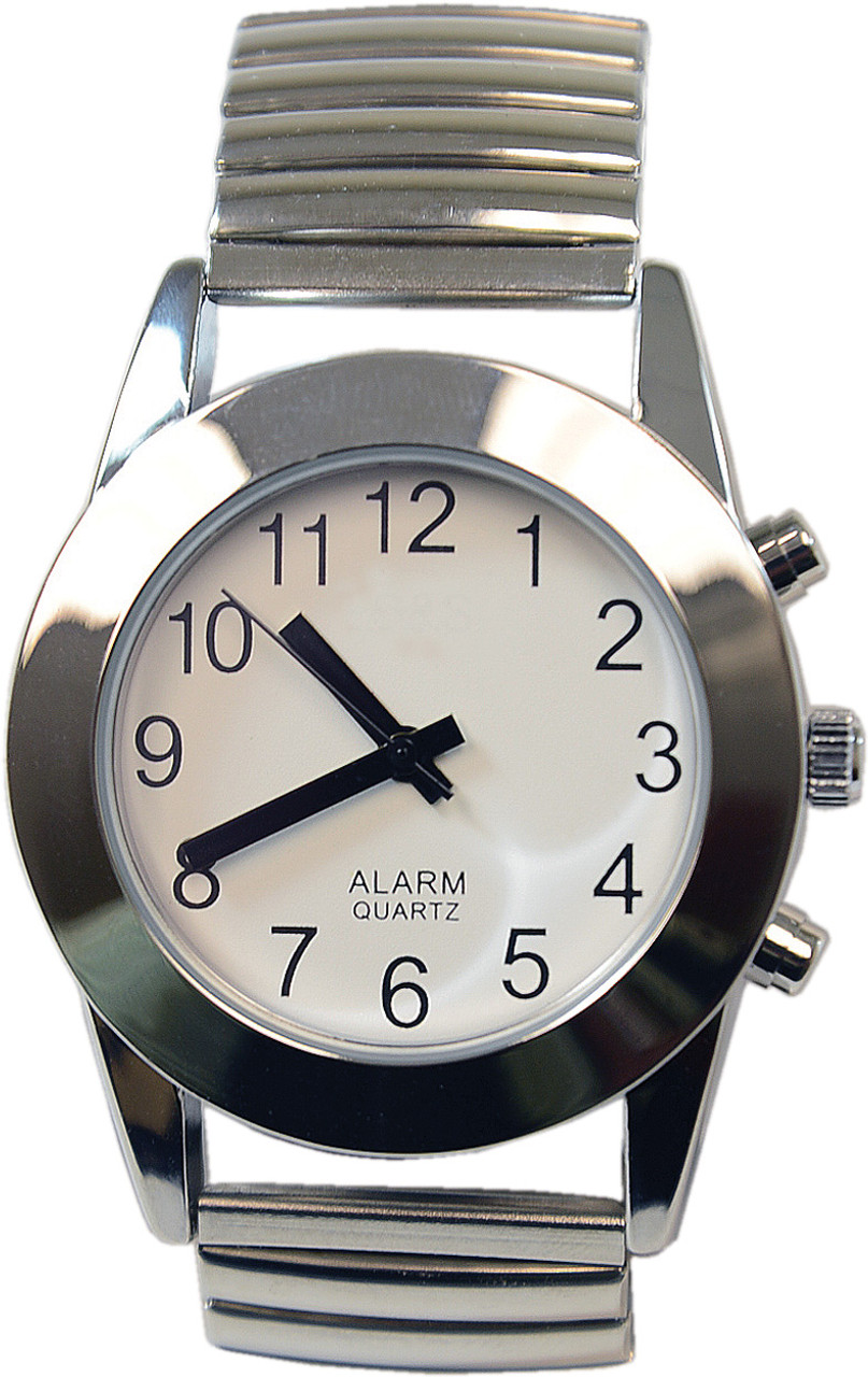 Touch Face Talking Watch, White Face Silver Band