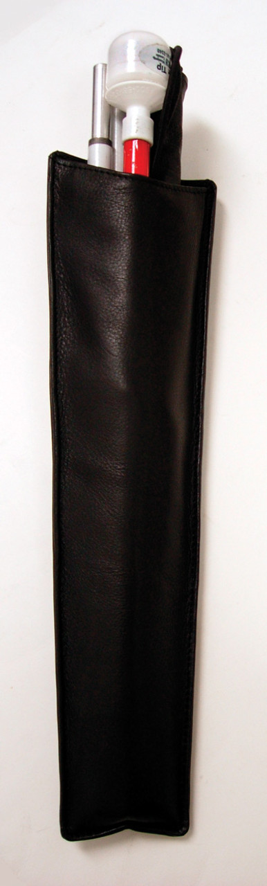 Black Leather Cane Holster with Belt Clip