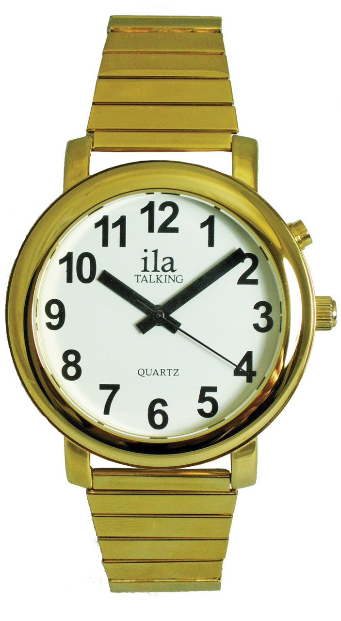Men's Gold ila Talking Watch, White Face with Choice of Voice
