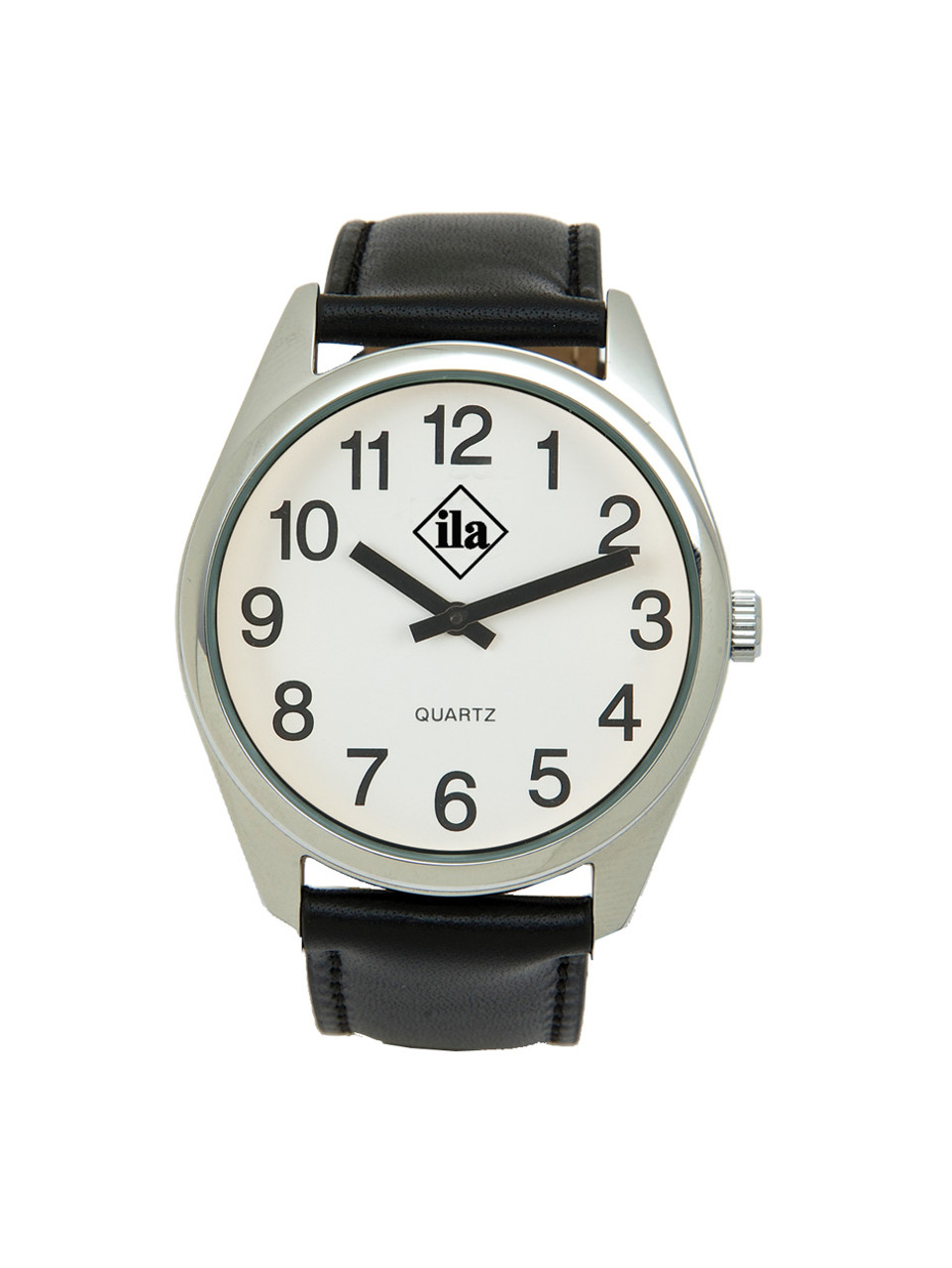 Low Vision Silver Tone Watch with White Face and Leather Band