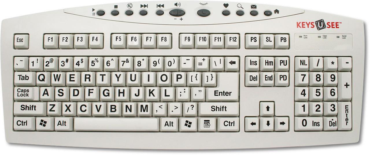 Keyboard with Keys-U-See Black on Ivory Keys