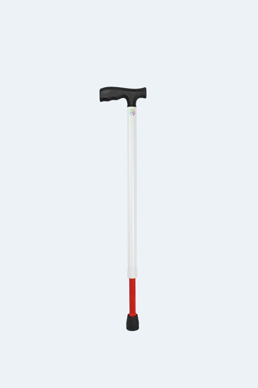 "Ambutech White Support Cane Adjusts from 25 to 33"" T-Handle"