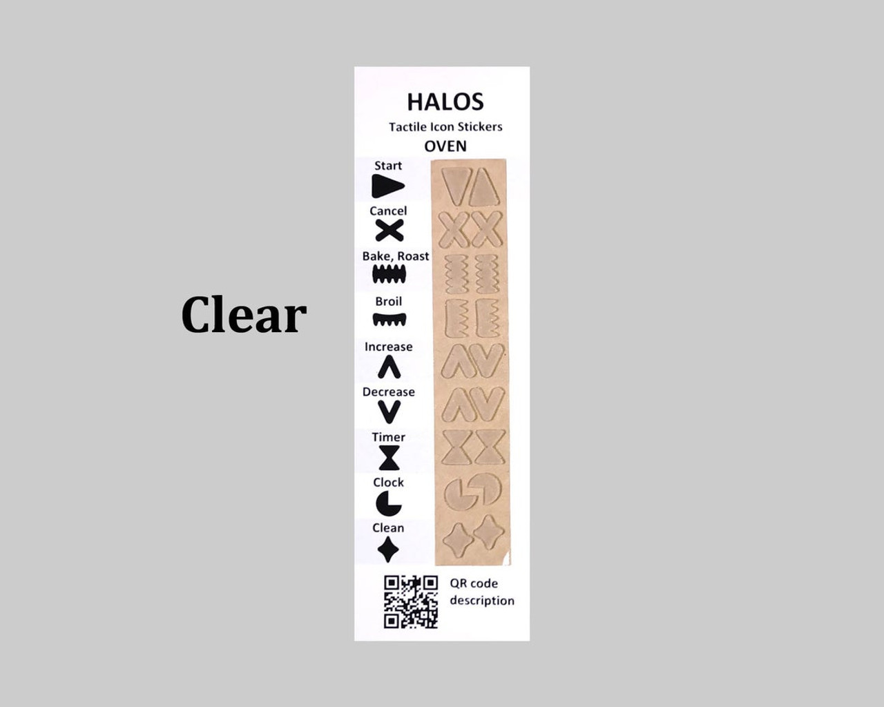 HALOS Tactile Oven Stickers - Clear - 2 sets per pack