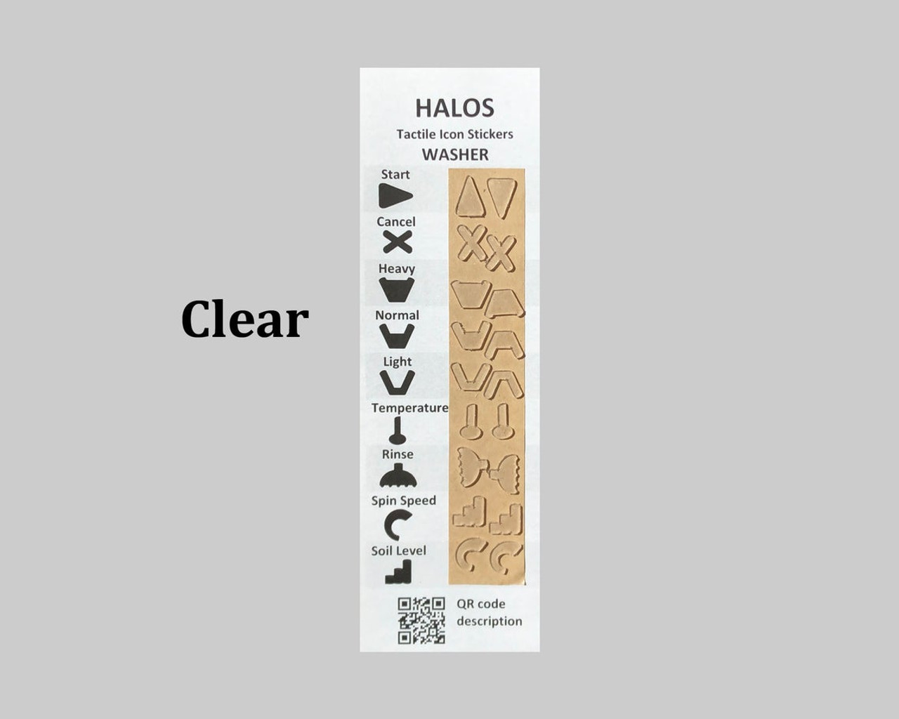 HALOS Tactile Washer Stickers - Clear - 2 sets per pack