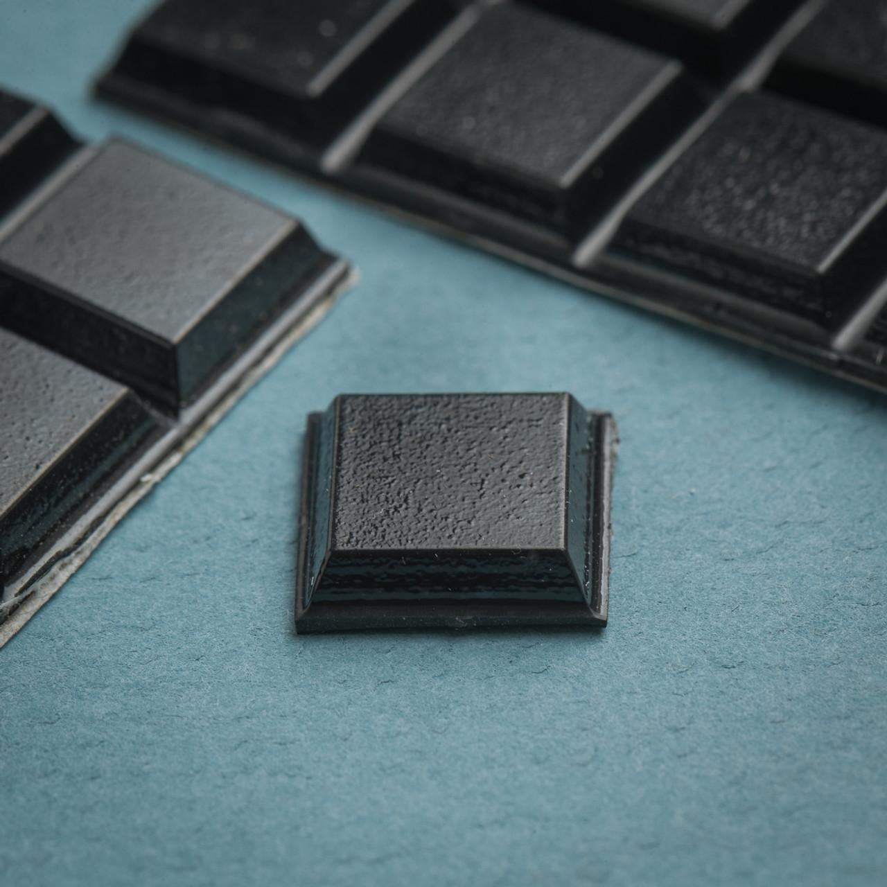 20 Medium Black Square Bump-Ons
