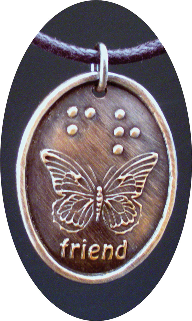 Friend in Braille and Butterfly Oval Copper Pendant